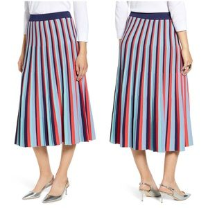 Halogen stripe knit pleated midi skirt navy red